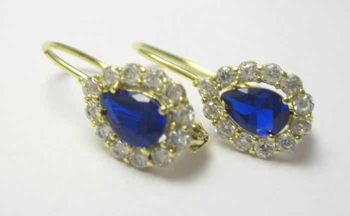 Dámské luxusní náušnice se zirkony a modrými safíry 1,90 gr P665 POŠTOVNÉ ZDARMA!!