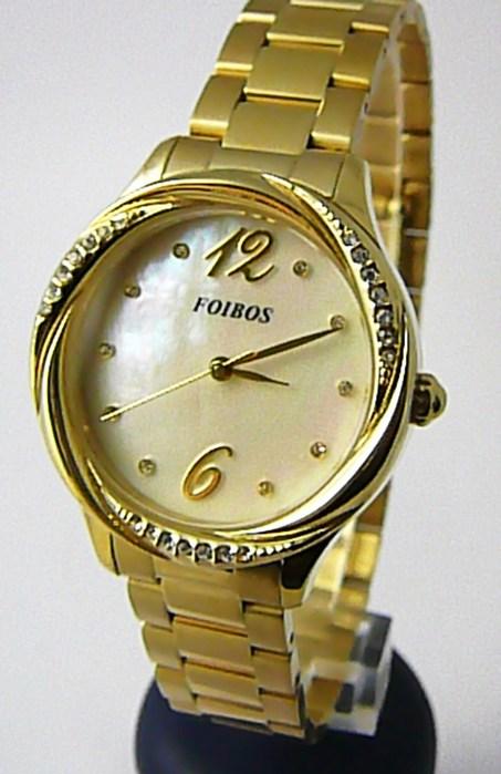 Dámské hodinky Foibos 3B722 POŠTOVNÉ ZDARMA!! (Dámské šperkové zlacené luxusní hodinky Foibos 3B722 s bílým perleťovým čísel.)
