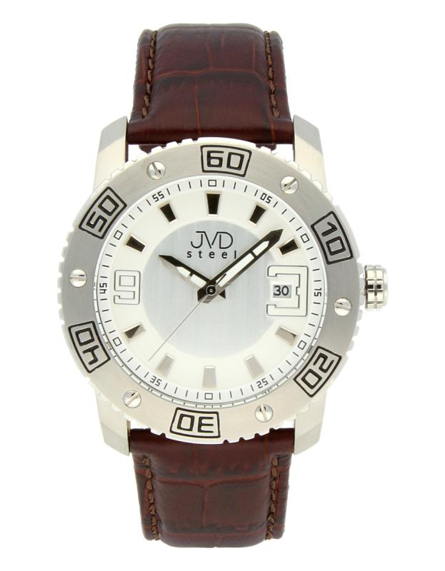 206c185df5a Luxusní pánské vodotěsné ocelové hodinky JVD C1122.1 na koženém pásku