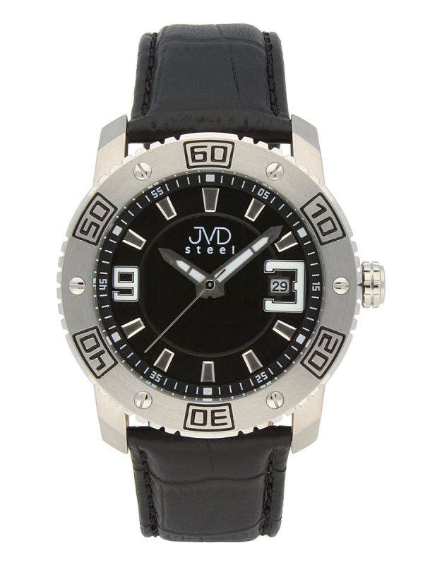 Luxusní pánské vodotěsné ocelové hodinky JVD C1122.2 na koženém pásku