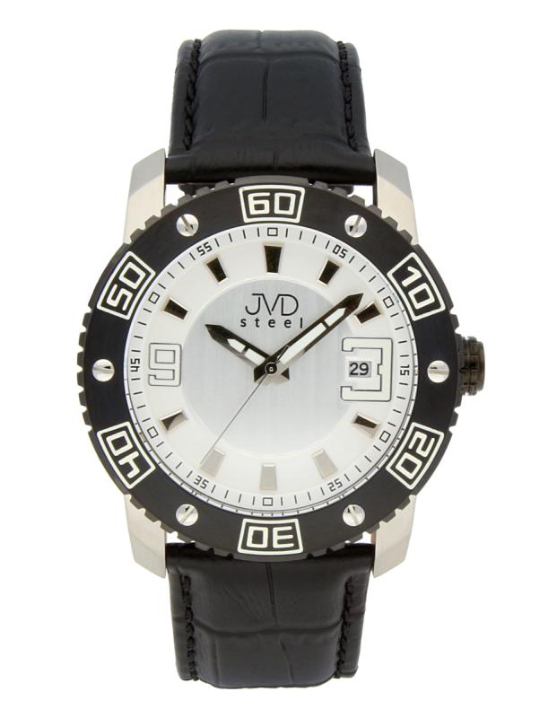 Luxusní pánské vodotěsné ocelové hodinky JVD C1122.3 na koženém pásku