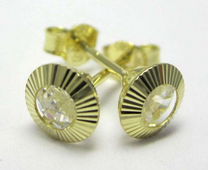 Dámské zlaté náušnice s čirým zirkonem a gravírováním 585/1,00 gr 1131228 (1131228)