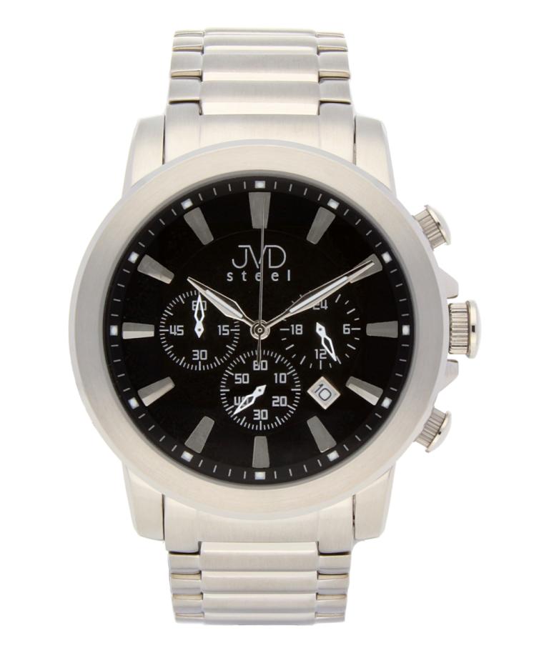 Mohutné ocelové moderní vodotěsné hodinky JVD C725.1 - chronograf 10ATM POŠTOVNÉ ZDARMA!! (POŠTOVNÉ ZDARMA!!)