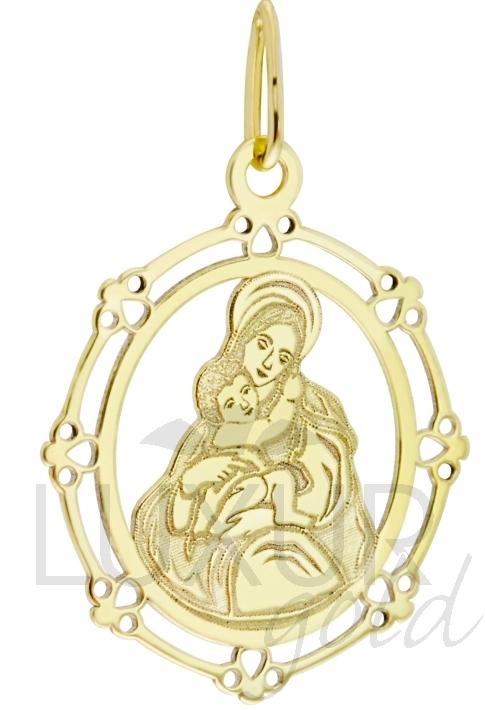 Celozlatá madonka ze žlutého zlata s gravírováním - přívěsek 585/0,70gr 4420171 (4420171)