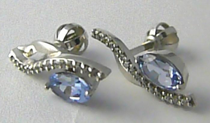 Dámské zlaté náušnice s modrým topazem a zirkony na šroubek 585/2,15gr Z129 POŠTOVNÉ ZDARMA!! (33604190)
