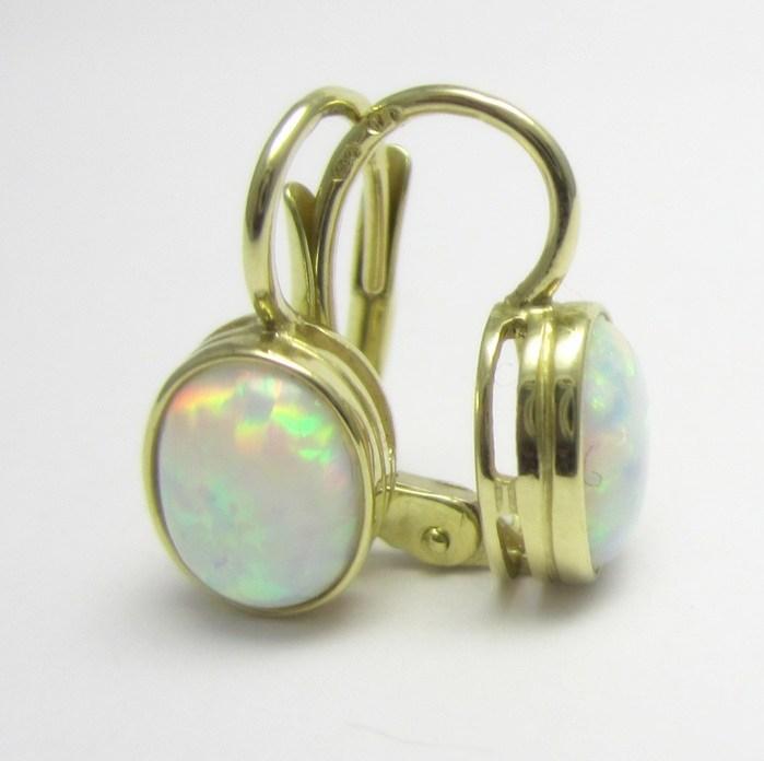c27554f1b Luxusní dámské zlaté náušnice s oválným bílým opálem 585/1,80 gr P677  POŠTOVNÉ