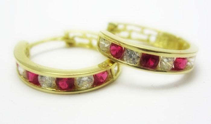 Zlaté kruhy - náušnice s rubíny a zirkony 585/1,95 gr P679 POŠTOVNÉ ZDARMA!!