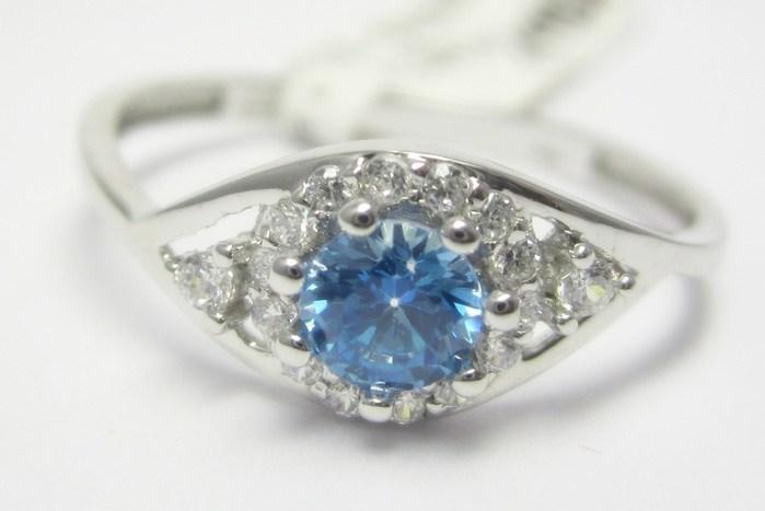 Zásnubní prsten z bílého zlata s modrým topazem 585/1,30 gr vel. 55 P681 POŠTOVNÉ ZDARMA!!