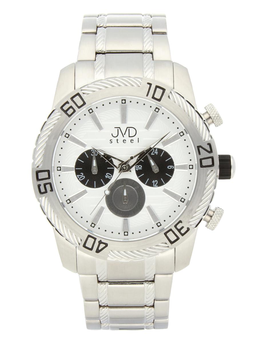 Mohutné pánské celonerezové vodotěsné hodinky JVDC 1130.1 s chronografem 10ATM POŠTOVNÉ ZDAR