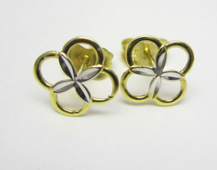 Dámské zlaté náušnice - kytičky v kombinaci zlata 585/0,72gr P697 POŠTOVNÉ ZDARMA!! (1431062)