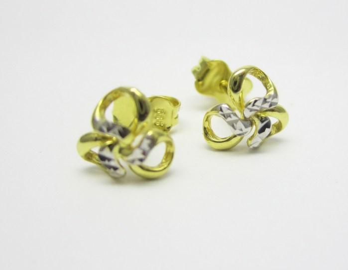 Dámské zlaté náušnice - kytičky v kombinaci zlata s gravírováním 585/1,00gr P698 POŠTOVNÉ ZDARMA!! (1431065)
