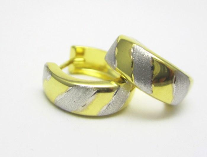 Dámské kruhy v kombinaci bílého a žlutého zlata 585/1,22gr 1430874 (1430874 - POŠTOVNÉ ZDARMA)