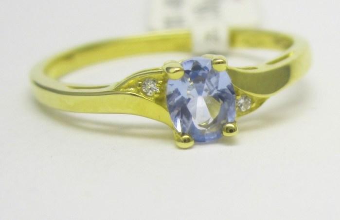 Luxusní zlatý prsten s modrým akvamarínem 585/1,55 gr vel. 55 P720 POŠTOVNÉ ZDARMA!!