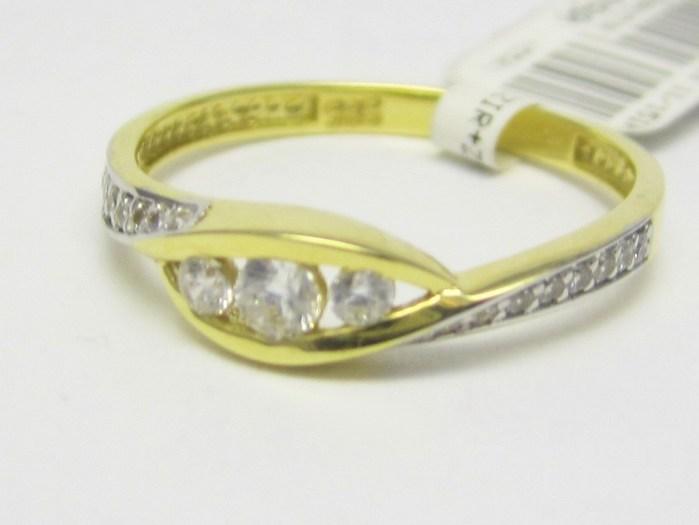 Luxusní zlatý prsten se zirkony 585/1,33 gr vel. 51 P721 POŠTOVNÉ ZDARMA!!