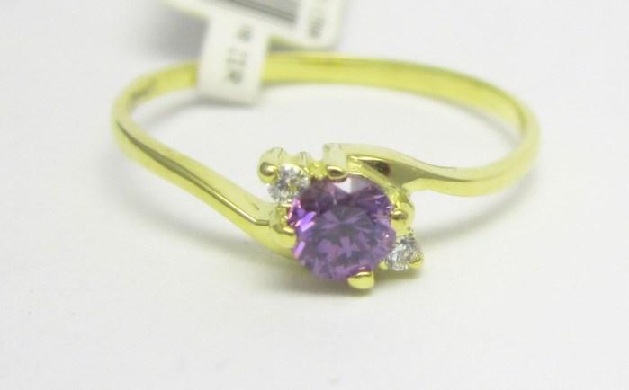 Luxusní zlatý prsten s fialovým ametystem 585/1,40 gr vel. 54 P725 POŠTOVNÉ ZDARMA!! (3510106)