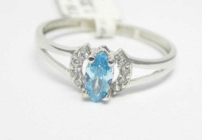 Zásnubní prsten z bílého zlata s modrým akvamarínem 585/1,32 gr vel. 53 P727 POŠTOVNÉ ZDARMA!!