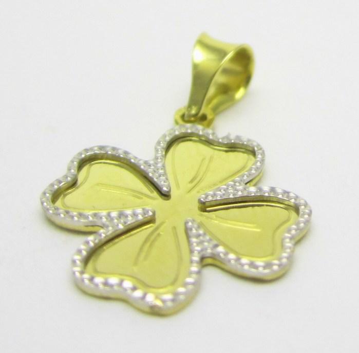 Zlatý přívěsek kombinace zlata - čtyřlístek pro štěstí 585/0,87 gr H650