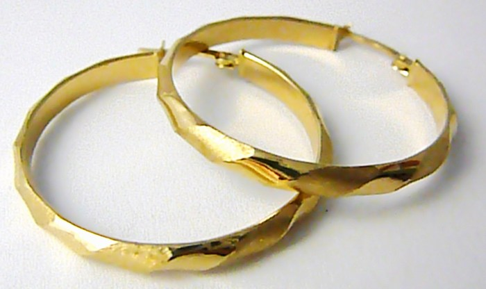 Obrovské gravírované velké zlaté kruhy ze žlutého zlata 3,5cm 585/2,09gr H665 POŠTOVNÉ ZDARMA!!