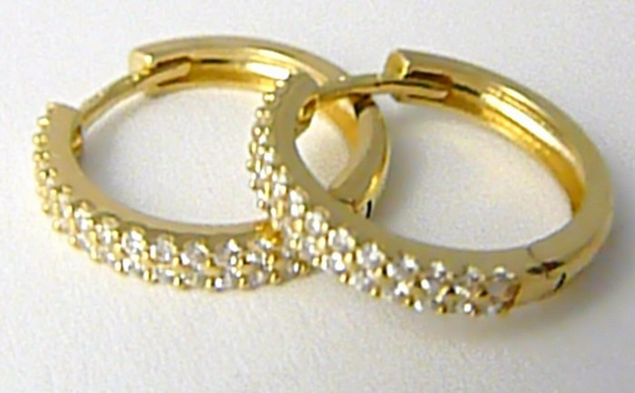 Dámské zlaté náušnice - zlaté kruhy poseté zirkony 16mm 585/2,14gr H668