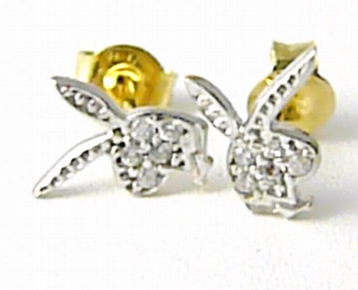 Dámské zlaté náušnice (pecičky PLAYBOY) z bílého a žlutého zlata 585/1,13gr H672 POŠTOVNÉ ZDARMA!!