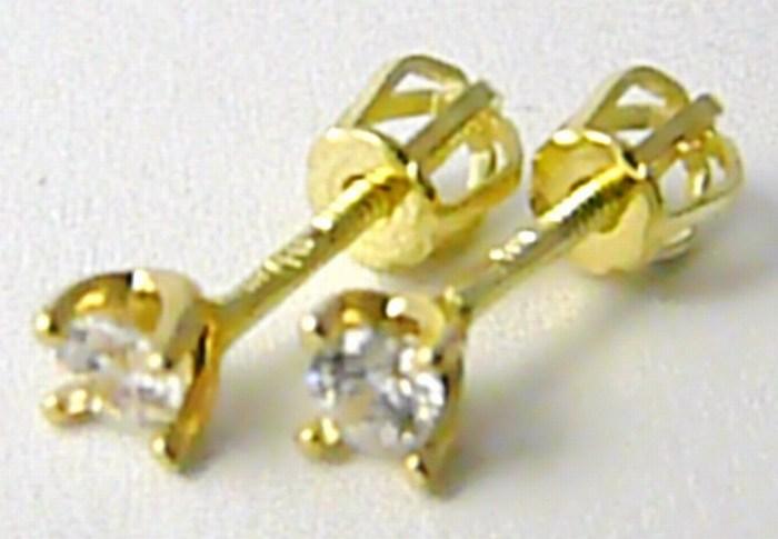 Dámské zlaté pecičky s jedním zirkonem (zlaté pecky) na šroubek 585/0,90gr H673