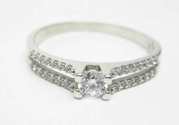 Elegantní zásnubní prsten z bílého zlata se zirkonem 585/2,14gr vel. 54 Z134 (323041333)