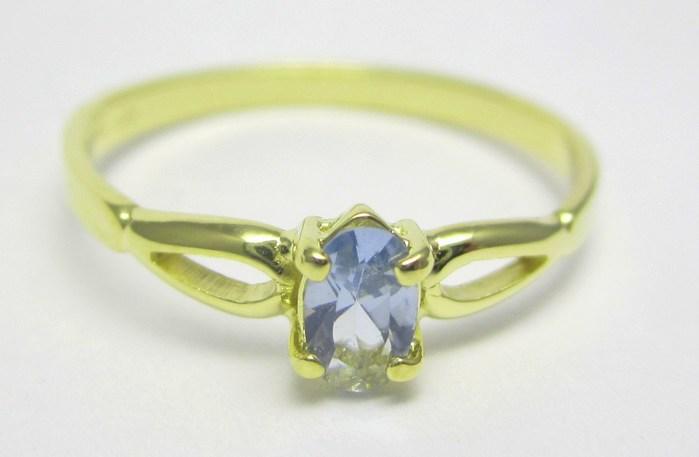 Elegantní zlatý prsten s modrým akvamarínem (i zásnubní) vel.53 1,29gr Z136