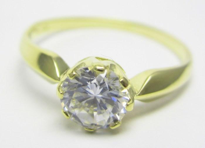 Zásnubní zlatý prsten s mohutným centrálním zirkonem vel.58 585/2,12gr Z141 POŠTOVNÉ ZDARMA!! (223041272)