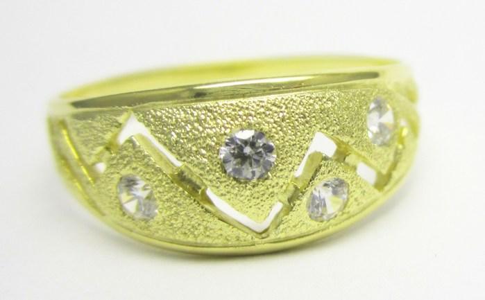Mohutný zlatý prsten se zirkony vel.65 585/3,23gr Z142 POŠTOVNÉ ZDARMA!!
