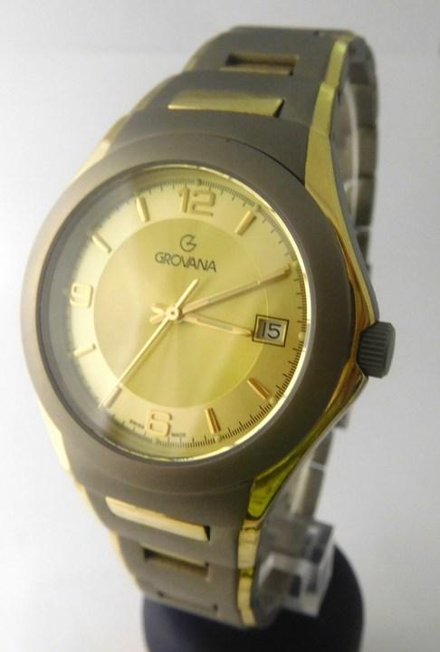 Pánské švýcarské celotitanové hodinky Grovana 1520.1291 se zlacením POŠTOVNÉ ZDARMA!! (1520.1291)