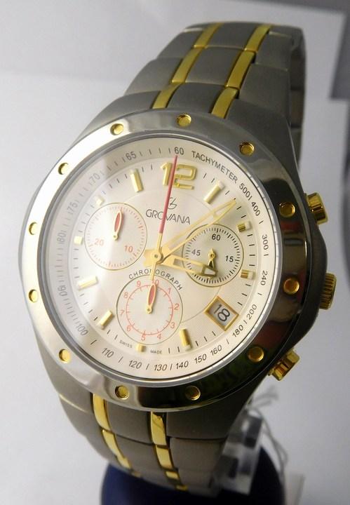 Pánské švýcarské celotitanové hodinky Grovana 1532.9122 se zlacením - chronograf POŠTOVNÉ ZDARMA!! (1532.9122)