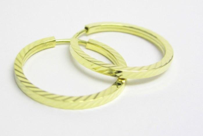 Elegantní zlaté kruhy s gravírováním 585/1,10gr Z149 (231470021)