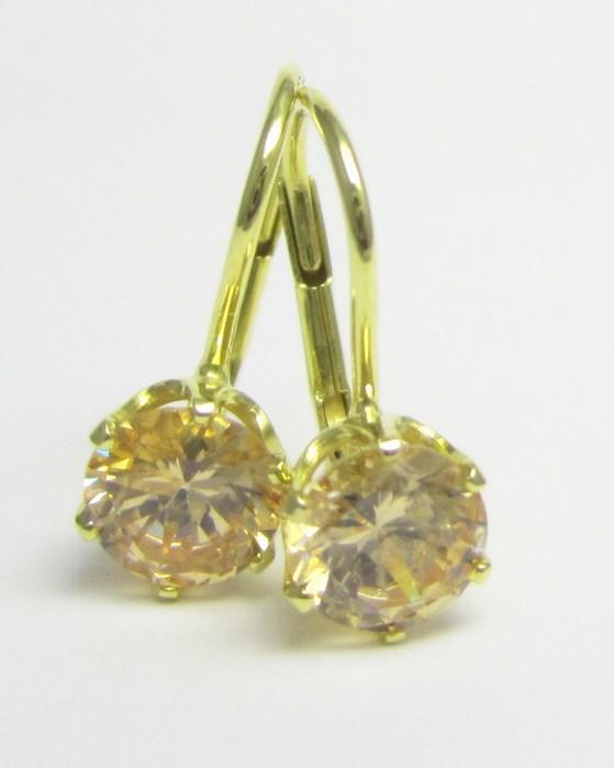 Elegantní zlaté náušnice se žlutými safíry 585/1,79 gr Z155