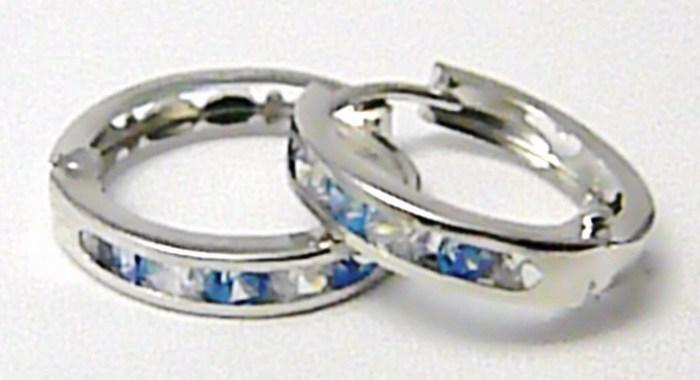 Zlaté kroužky - zlaté kruhy z bílého zlata s modrými topazy 585/0,91gr H684 ( )
