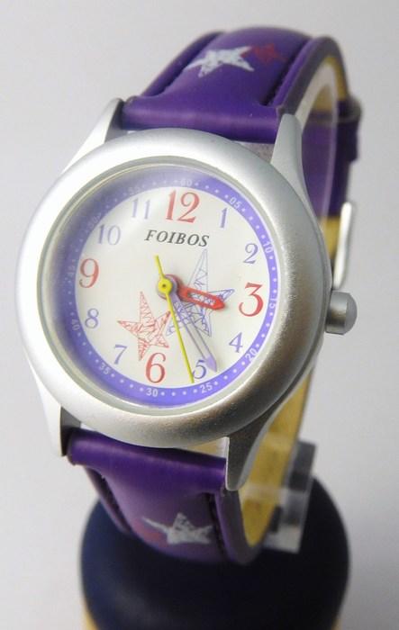 Fialkové dívčí dětské hodinky Foibos 1567.3 s barevnými motivy