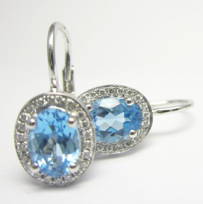 Luxusní zlaté diamantové náušnice s pravými modrými topazy 585/2,20g 3880136 (3880136 - IHNED k odeslání!!!)