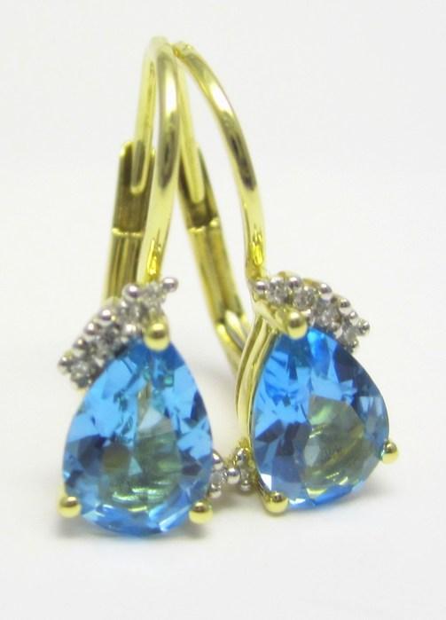 Luxusní zlaté diamantové náušnice s pravými modrými topazy 585/1,60g 3830062 (3830062 POŠTOVNÉ ZDARMA)