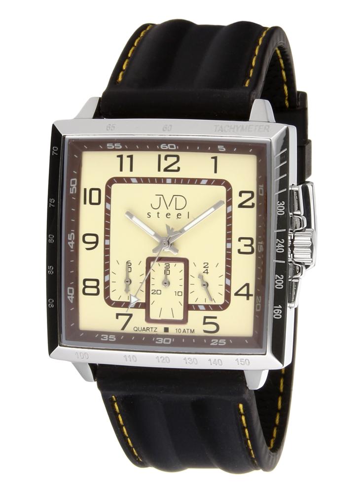 Ocelové vodotěsné pánské hranaté hodinky JVD X99.1