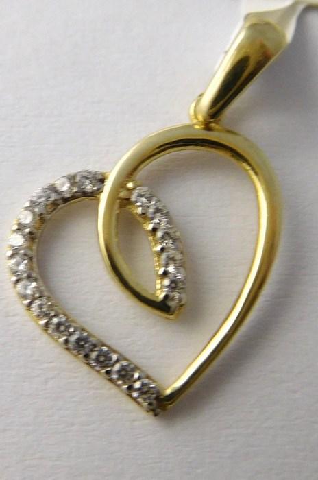 Zlatý přívěsek - zlaté srdíčko se zirkony pro zamilované 585/0,80gr P751