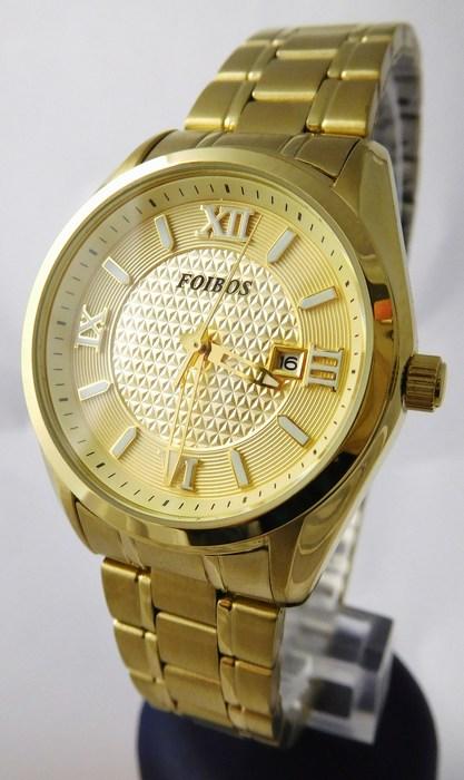 Dámské ocelové pozlacené hodinky Foibos 1Y43.1 s římskými číslicemi ( )
