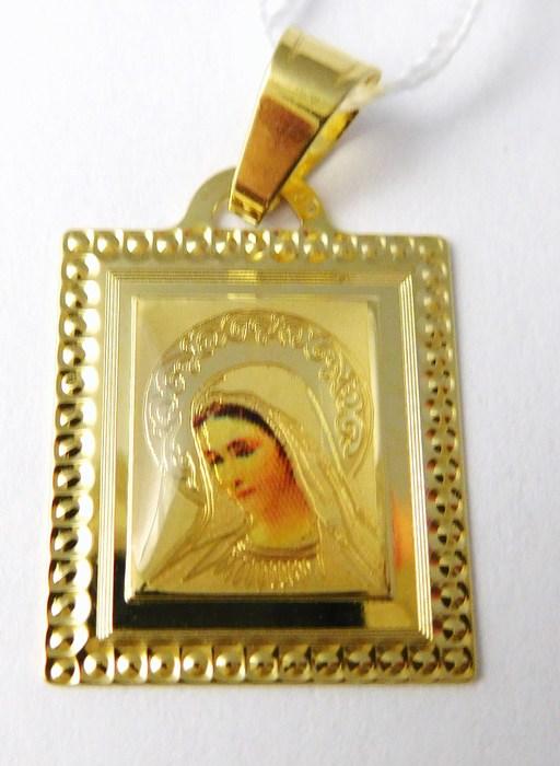 Velká zlatá madonka smaltovaná zlatá madona přívěsek 585/0,93gr H704