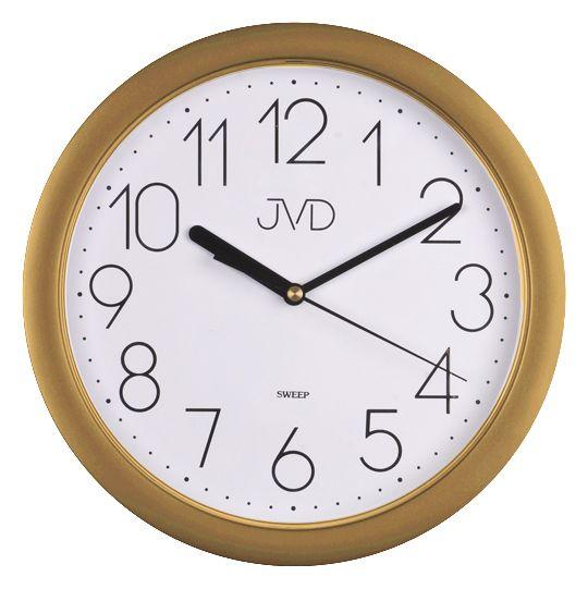 Plastové netikající tiché hodiny JVD sweep HP612.26 - zlatá