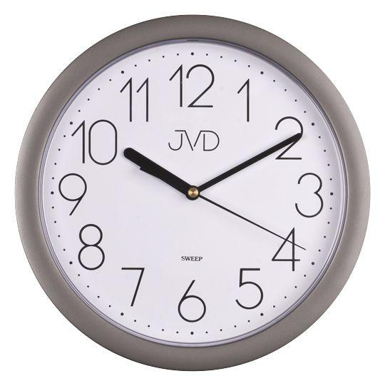 Stříbrné plastové nástěnné netikající tiché hodiny JVD sweep HP612.7