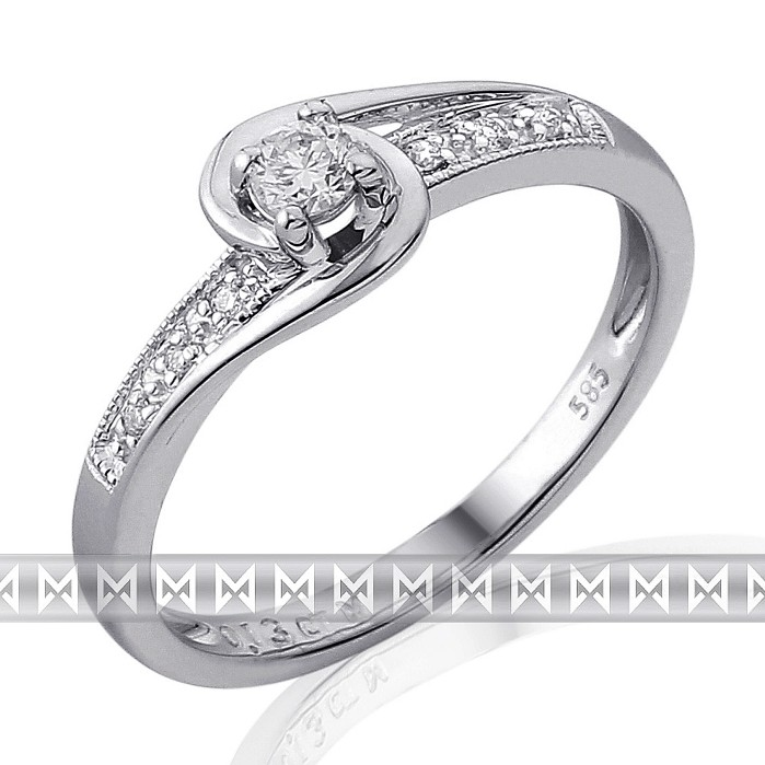 Luxusní zásnubní diamantový prsten z bílého zlata 1/0,11 ct + 6/0,03 ct 585/2,0g POŠTOVNÉ ZDARMA!! (3861844)