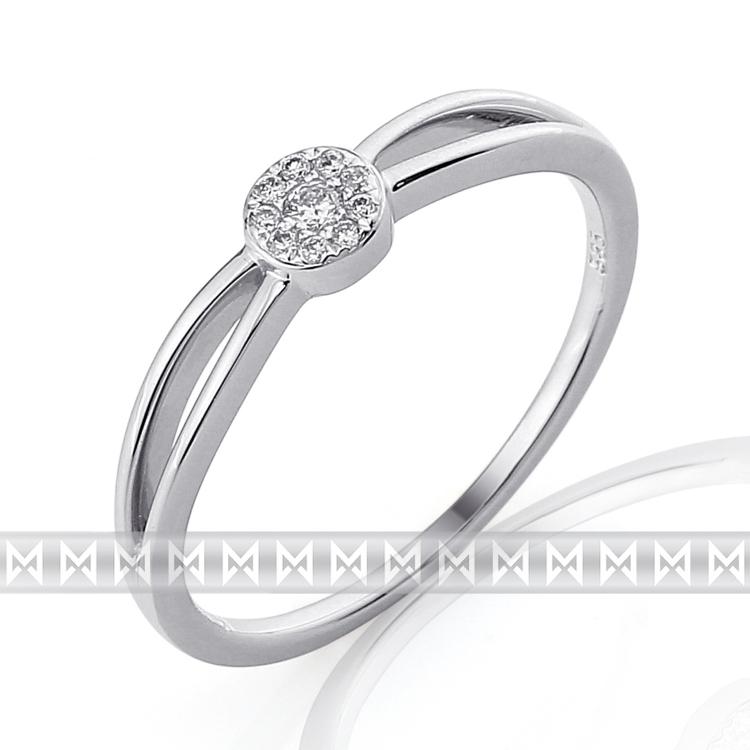 Luxusní zásnubní diamantový prsten z bílého zlata 10/0,05 ct 585/1,55 gr POŠTOVNÉ ZDARMA!!