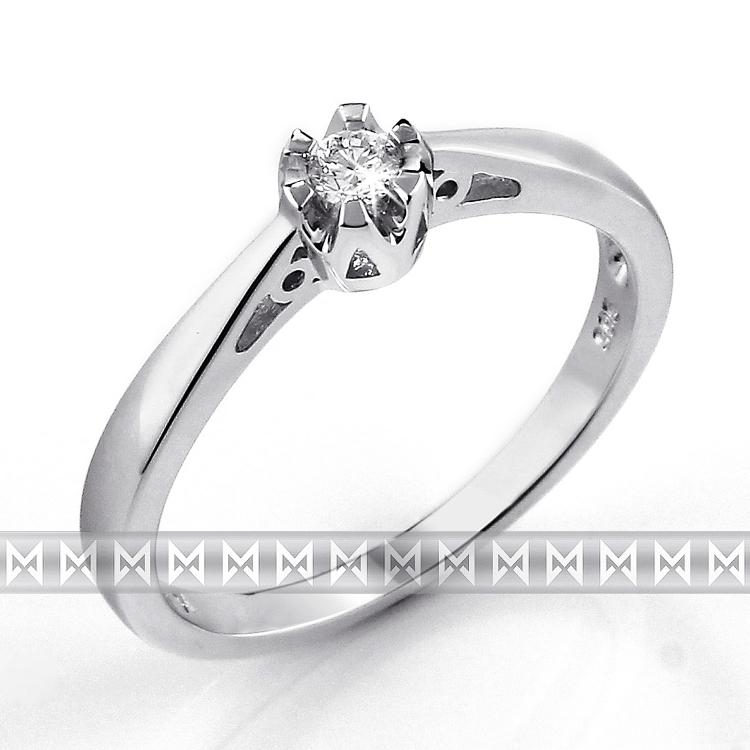 Luxusní zásnubní diamantový prsten z bílého zlata 1/0,06 ct 585/2,00 gr POŠTOVNÉ ZDARMA!!