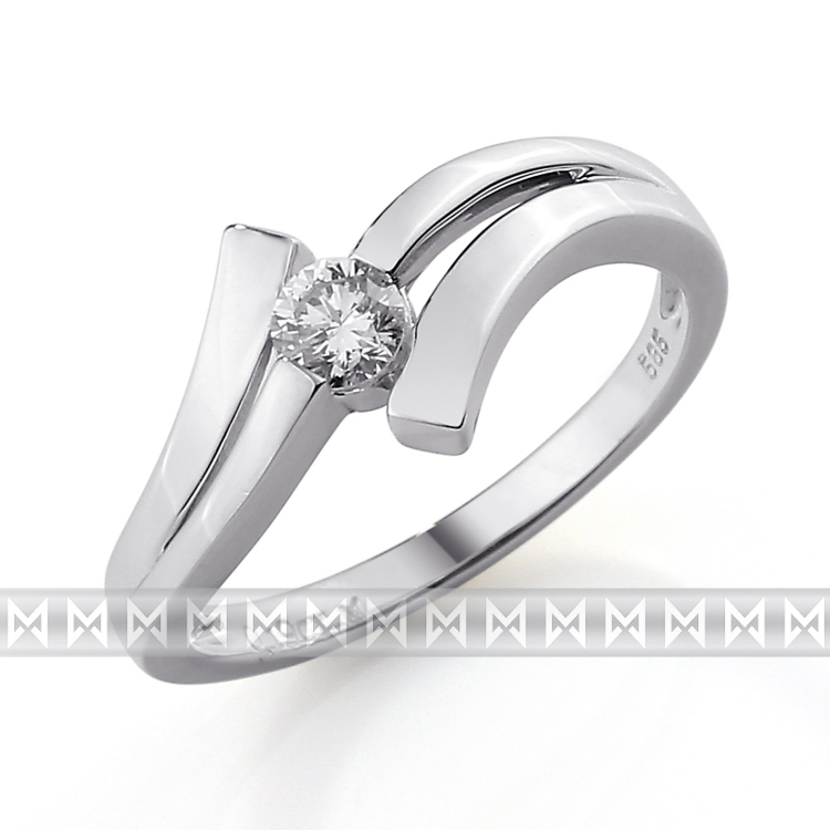 Luxusní zásnubní diamantový prsten z bílého zlata 1/0,09 ct 585/1,90 gr POŠTOVNÉ ZDARMA!! (3860107)