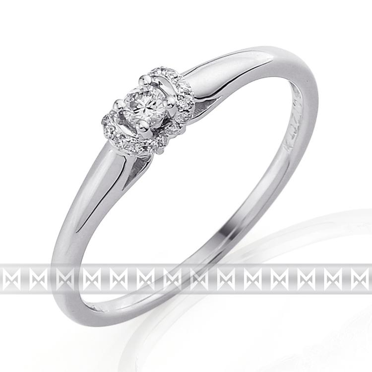 Luxusní zásnubní diamantový prsten z bílého zlata 17/0,12 ct 585/1,55 gr POŠTOVNÉ ZDARMA!! (3860843)