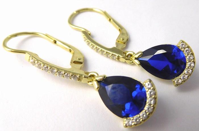 Mohutné zlaté visací náušnice s velkými modrými safíry 585/4,47gr Z163 (236041239 - POŠTOVNÉ ZDARMA)