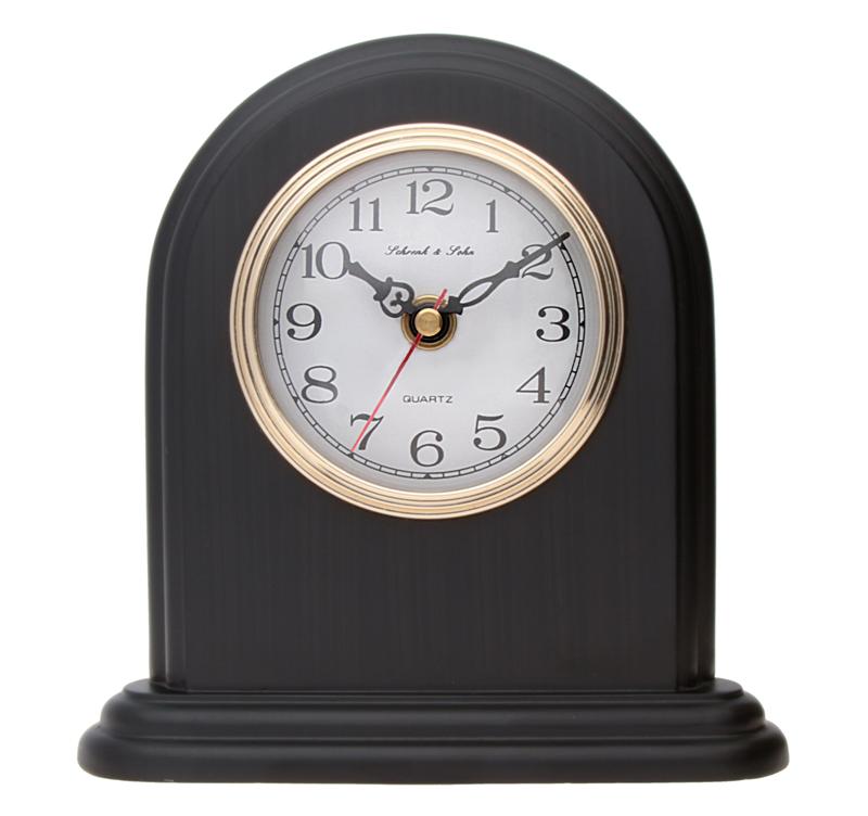 Luxusní černé stolní hodiny ASSO A15/102/14 (imitace dřeva)